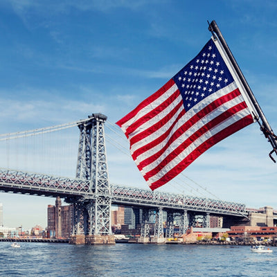 American flag in Brooklyn harbor