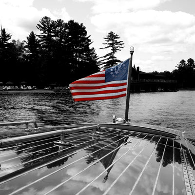 American yacht flag on a woody boat