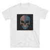 white t-shirt with American flag on skull print