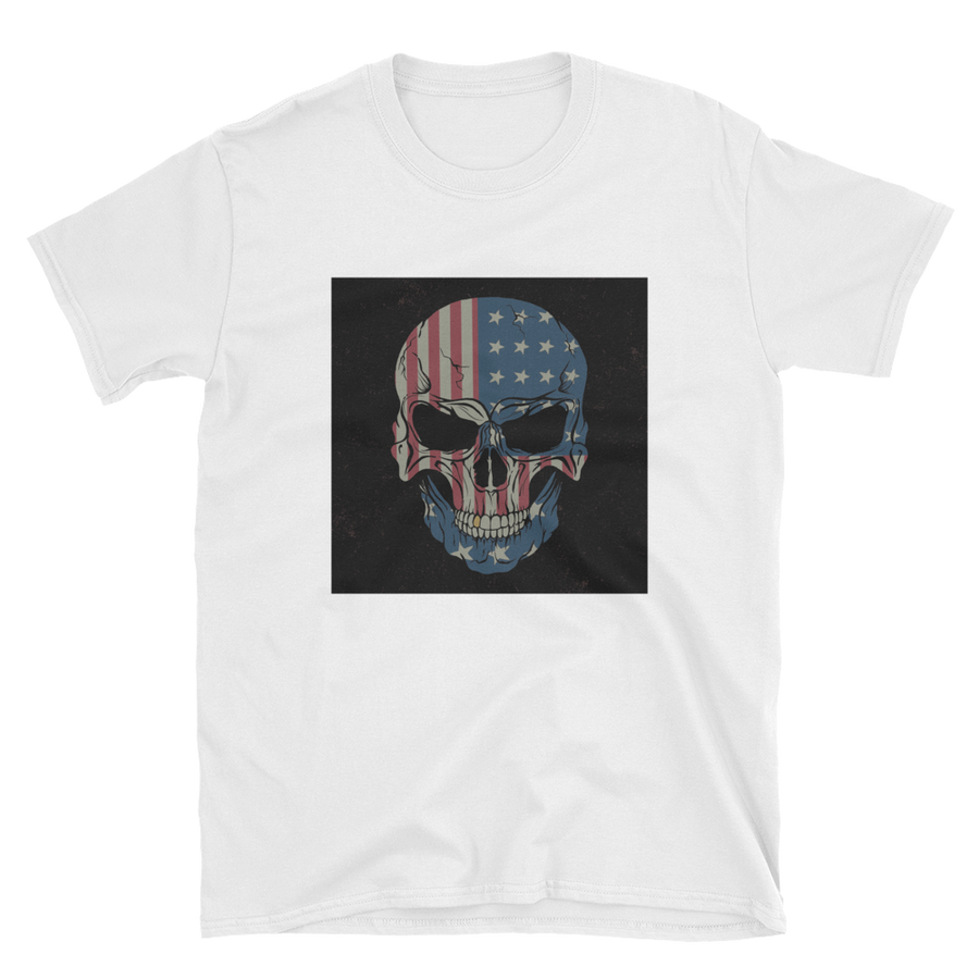 red white and blue US flag printed on skull