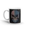American flag printed on angry skull coffee mug handle on the left