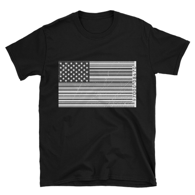 black tshirt with black and white bar code American flag design