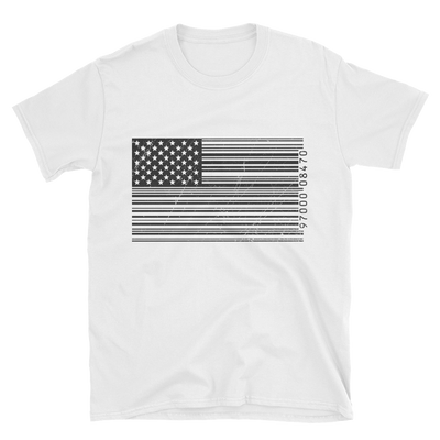 white t shirt with bar code American flag in black and white