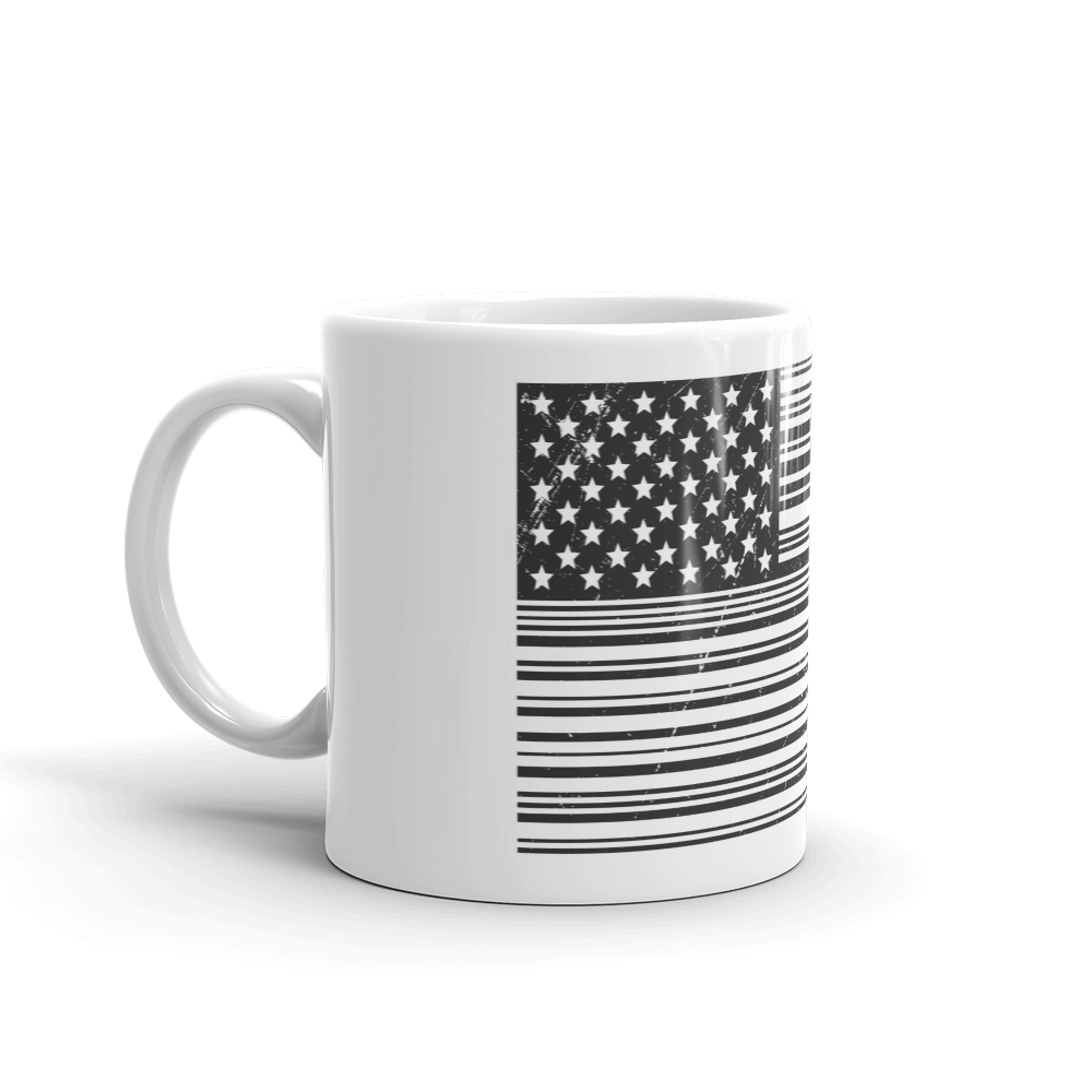 US flag in black and white bar code print on coffee and tea mug