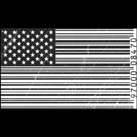Black and white US flag in barcode design
