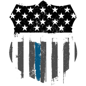 police badge American flag print with thin blue line