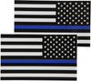 Pair of black white and blue auto decals for law enforcement support