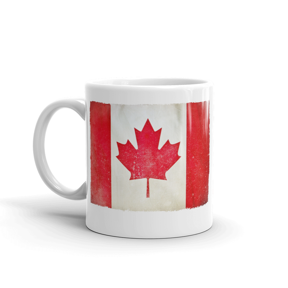 Coffee mug 11 oz white printed with Canadian Flag