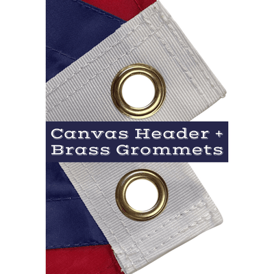 close up of canvas header and brass grommets on Puerto Rico flag