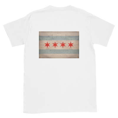 white t-shirt with Chicago flag vintage