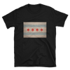 black t-shirt with vintage Chicago Illinois flag print