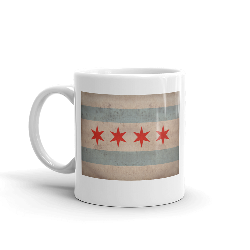 Chicago flag print on coffee mug