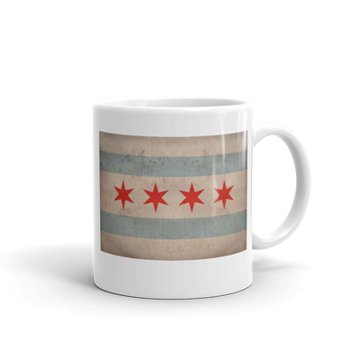 vintage Chicago flag on tea mug handle on right