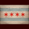Chicago flag print with 4 red stars and 2 blue bars
