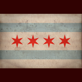 4 stars red blue tan vintage Chicago flag print