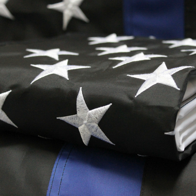 Embroidered stars Thin blue Line Flag close up of folded police flag