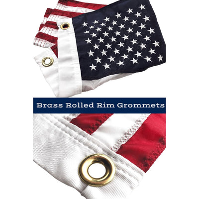 brass grommets on 12x18 inch American flag