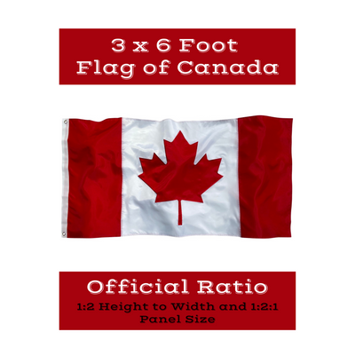 Official Ratio Height to width Canadian flag 1:2