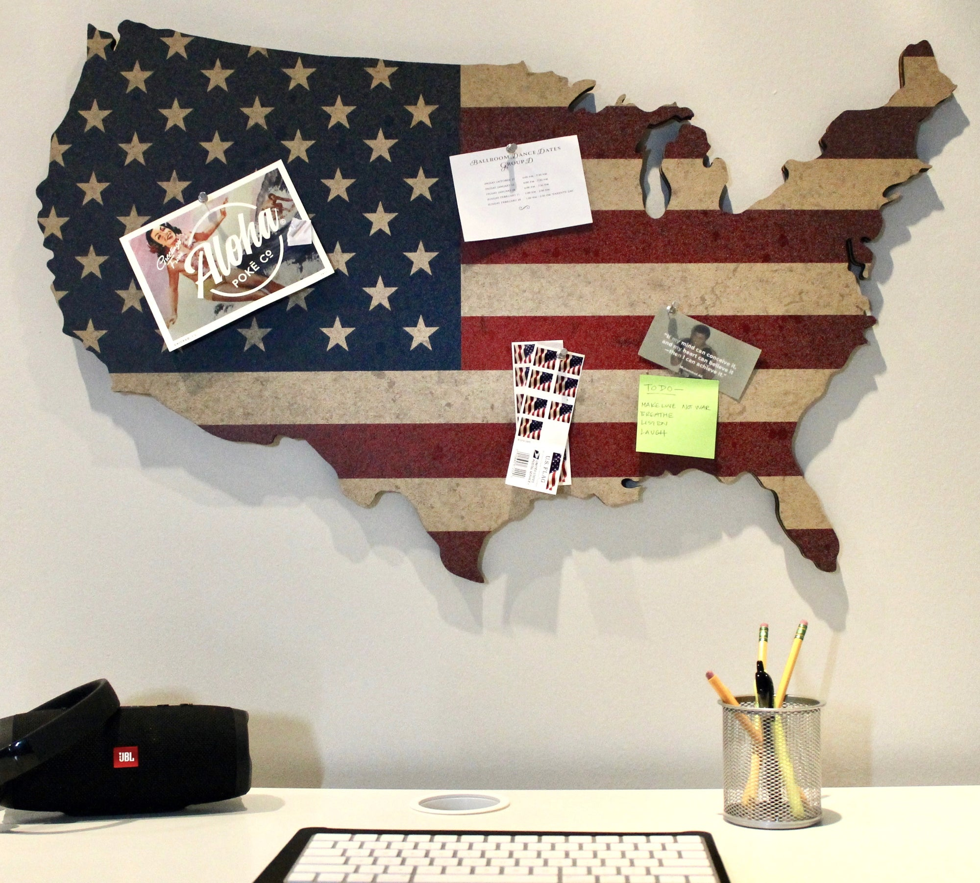 Us Map On Cork Board.Cork Bulletin Board Us Map With American Flag Print Finelineflag