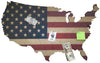 Cork Bulletin Board - US Map with American Flag Print
