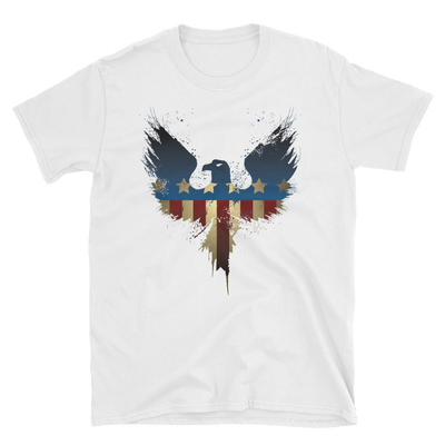 white t-shirt with American eagle print