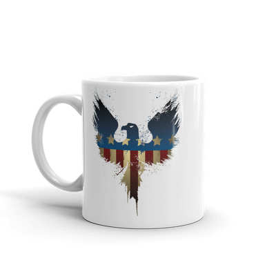 Eagle with wings spread american flag on coffe mug