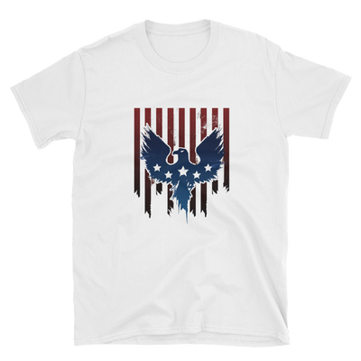 white t-shirt with American Flag Eagle image dripping
