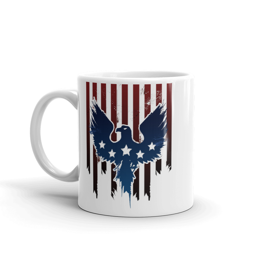 Blue Eagle on Red stripes with white stars printed on coffee mug
