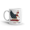 American flag printed on eagle landing on white coffee mug