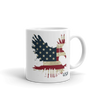 red white and blue stars and stripes on eagle landing image on tea mug