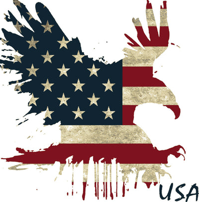 custom designed eagle with US flag print dripping vintage image