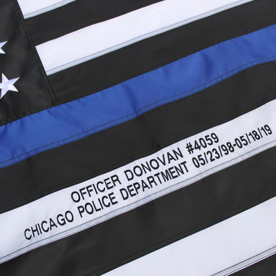 Custom Embroidery on Thin Blue Line Flag with Officer Name