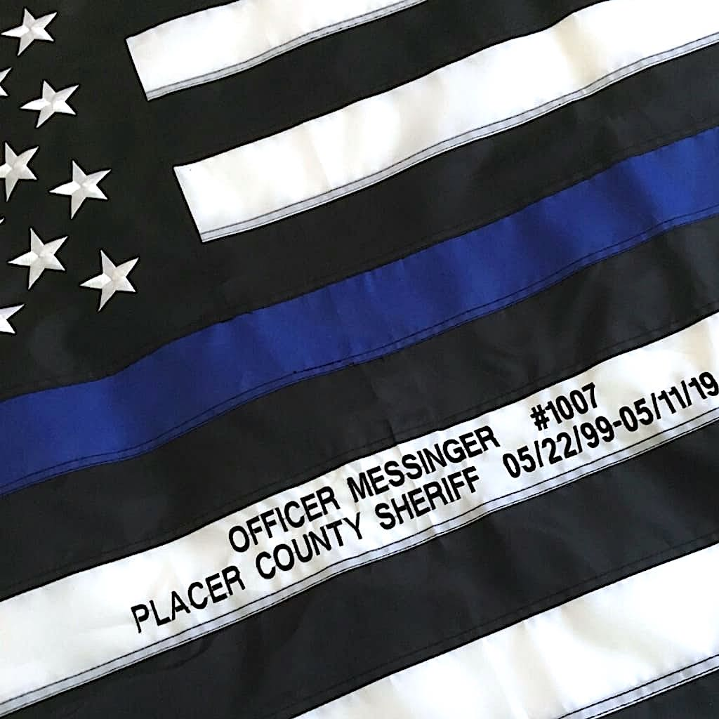 Thin Blue Line flag with Officer Name embroidered