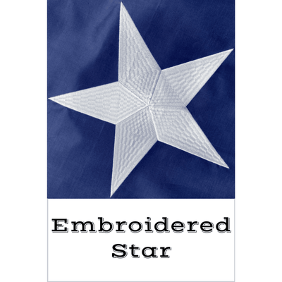 close up of embroidered star on Puerto Rico Flag