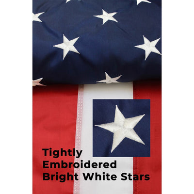 Embroidered star on 4x6 US flag