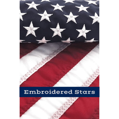 Embroidered stars on 12x18 inch flag