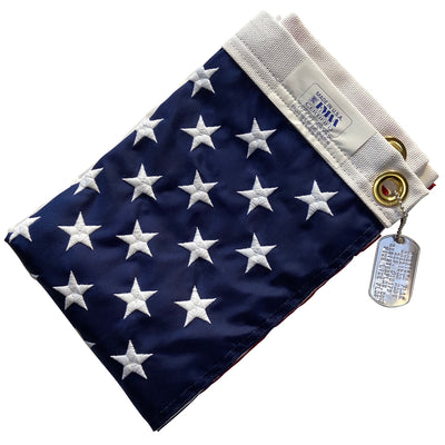 2x3 Foot American Flag folded with dog tag