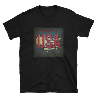 black t with USA patriotic print