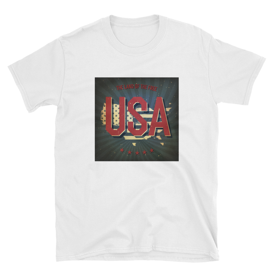 USA vintage print on US map cutout text the land of the free