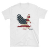 white t-shirt with American eagle landing print