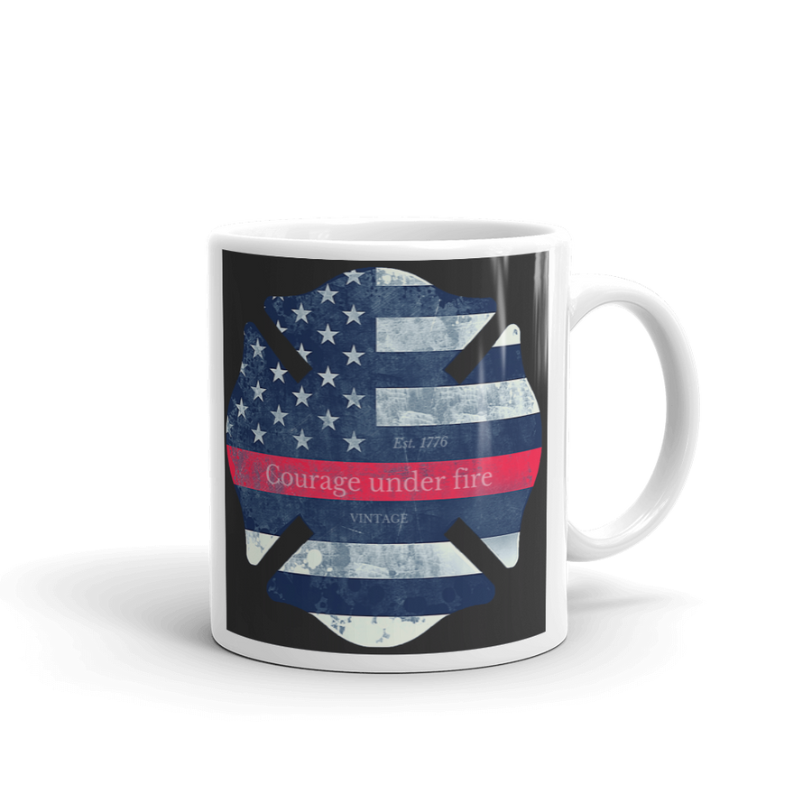 Maltese cross firefighter symbol printed on white coffee mug black white and red
