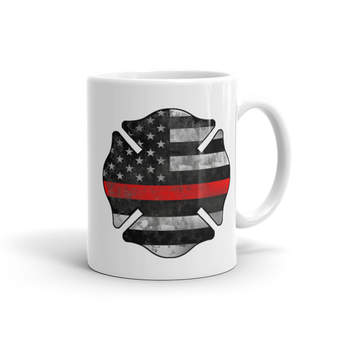 11 oz Coffee Mug with Thin Red Line Logo Handle on Right