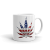 white coffee mug with red white and blue flag print on marijuana leaf