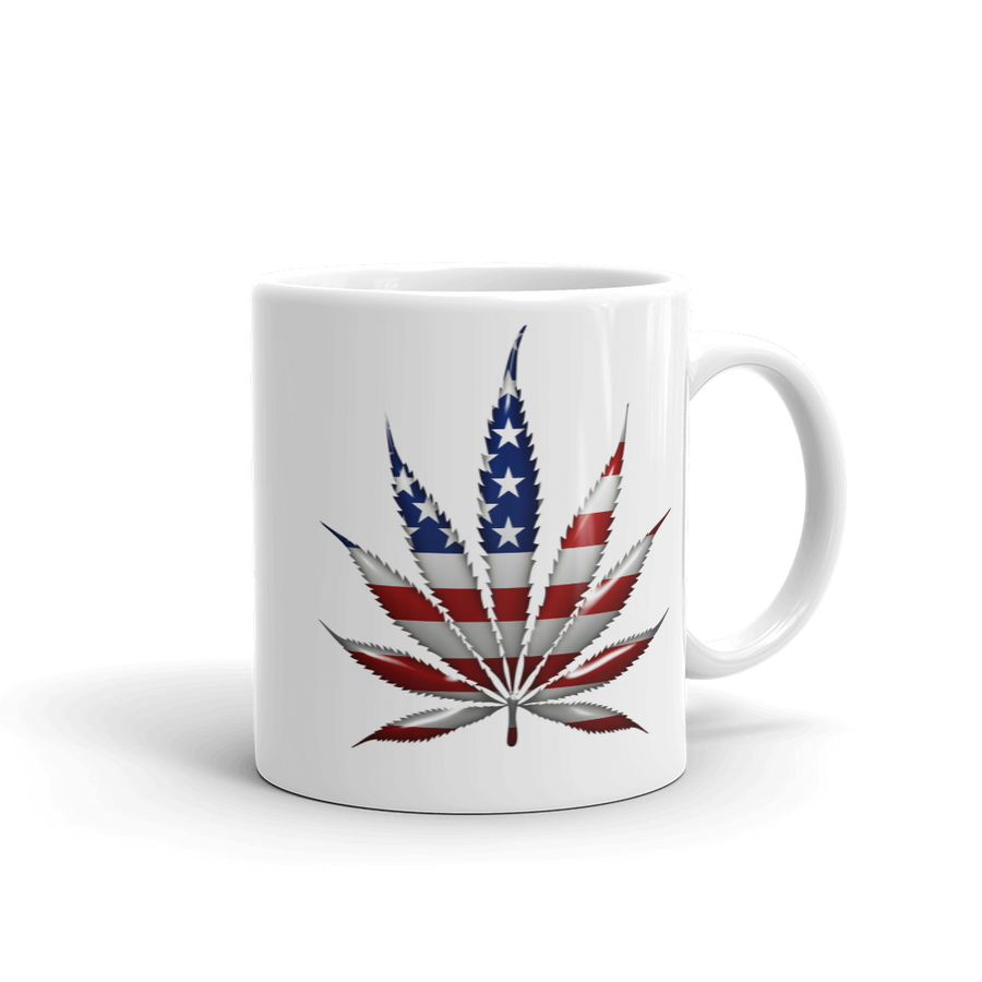 11 oz white coffee mug with marijuana leaf American flag print image