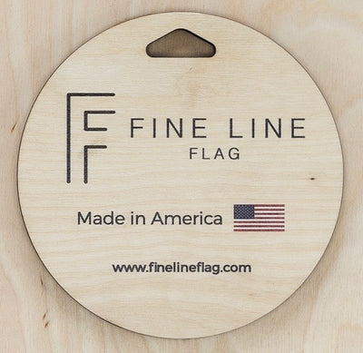 back hanger cut out with text made in America and Fine Line Flag