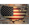 American flag printed on wood US map hanging on brick wall lighted