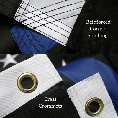Close up of Thin Blue Line Flag stitching fly hem and brass grommets