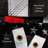 Thin red line flag reinforced stitching brass grommets and embroidered star close up