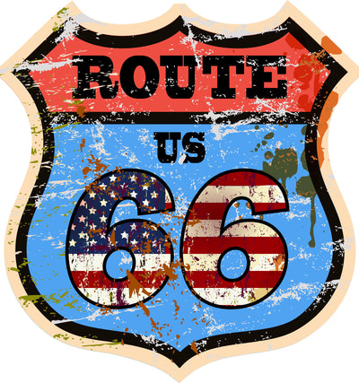 Colorful Route 66 graphic on badge shape with American flag print