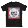 black tshirt with happy skull red white and blue flag image